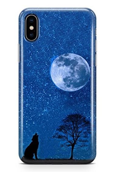 Lopard iPhone Xs Max Kılıf Silikon Arka Kapak Koruyucu Gece ve Kurt Desenli Full HD Baskılı Renkli